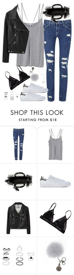 """Untitled#4240"" by fashionnfacts ❤ liked on Polyvore featuring Cami NYC, Yves Saint Laurent, adidas Originals, Acne Studios, Topshop, Overland Sheepskin Co. and Bliss Lau"