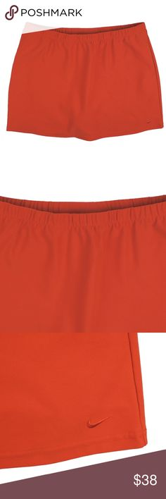 "NIKE Dry Fit Orange Golf Tennis Skirts Skort Size - L  This orange athletic skirt from NIKE is in absolutely excellent condition. Features an elastic banded waist and built in shorts underneath. Made of polyester and lycra.  Measures:  Waist: 33-40"" (stretches)  Hips: 44"" Total length: 15.5"" Nike Shorts Skorts"