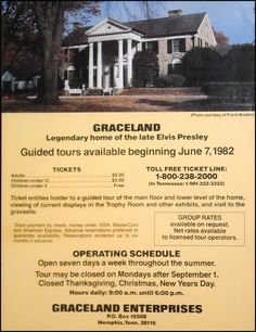 {*The opening of Elvis's home graceland to the Public in 1982 - after Elvis's Death :( & Three yrs after Elvis's Dad Vernons death :( This is the flyer for Graceland's opening day*'} Lisa Marie Presley, Elvis And Priscilla, Priscilla Presley, Elvis Presley House, Elvis Presley Graceland, Elvis Presley Photos, Mississippi, Graceland Mansion, Elvis Memorabilia
