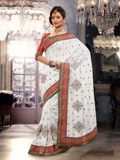 White Bhagalpuri Jacquard Saree With Stone Work www.saree.com