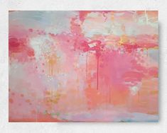 Pink and Gold Abstract Painting Blush Pink Peach Aqua and | Etsy