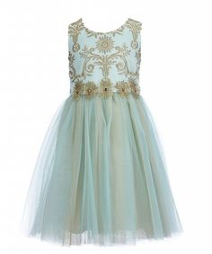 Bonnie Jean partydress embroidery to tulle aqua