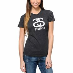 For a simple look with no shortage of style, throw on the Stussy Heather Charcoal tee shirt for girls. The Stussy S link logo graphic at the front in White adds a pop to the Heather Charcoal Grey colorway, while the blended construction and slim fit of t