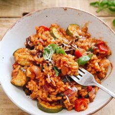 Tomato & Roasted Mediterranean Vegetable Risotto (Vegan) - Wallflower Kitchen
