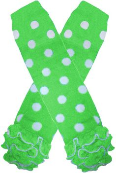 Lime and White Polka Dot Cotton Ruffle Leg Warmers