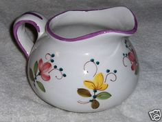 FTD Large Floral Pitcher Hand Painted In Italy Ceramic Art Pottery Flower Vase on eBay!