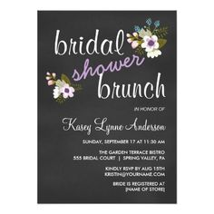 Chalkboard Floral Wedding Shower --Bridal Brunch Invitations --  Shower the bride with flowery cheer!  Cute lavender purple and white abstract flowers with pink rose accents and modern elegant calligraphy on slate gray blackboard. Other colors in this same style available.
