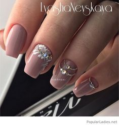 Nice nude nails with some cute details
