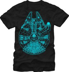 bac0bb9c2 Star Wars Millennium Falcon Glow In The Dark Licensed Adult Unisex T-Shirt  - Blk
