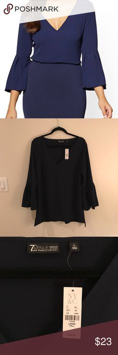 NWT NY&Co Bell Sleeve Blouse - L Tall Feminine and flattering: bell sleeves add an on-trend touch to our versatile blouse, finished with a v-shaped neckline. Great length due to the tall size. Not to short! New York & Company Tops Blouses