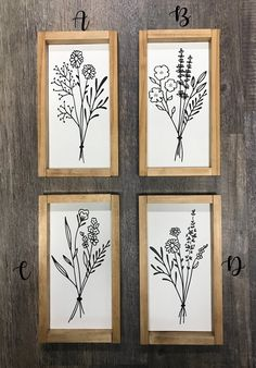 Botanicals - Farmhouse Decor - Wall Decor - x - Color Options Botanical Wall Art, Botanical Prints, White Wood, Artwork Prints, Line Art, Wood Signs, Farmhouse Decor, Gallery Wall, Wall Decor