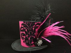 Pink and Black Damask Mini Top Hat Great for by daisyleedesign, $21.95