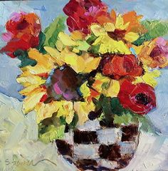 Sunflowers and Checkers by Sharon Furner Oil ~ 8 x 8