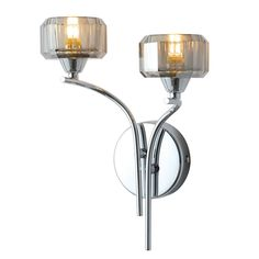 Allyn Clear Chrome Smoked Glass Wall Light