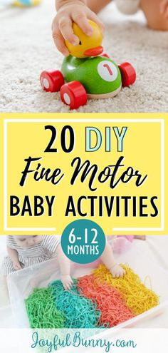 20 DIY fine motor baby activities: months 20 baby activities to help develop fine motor skills! Perfect for babies months. Create entertaining and educational play with items already in your home! - Baby Development Tips Baby Learning Activities, Motor Skills Activities, Sensory Activities, Infant Activities, Educational Activities, 6 Month Baby Activities, Kids Learning, Baby Sensory Play, Baby Play
