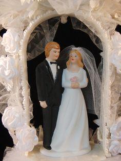 Vintage wedding cake topper bride and groom