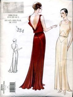 1930s evening dress- The evening dresses of this timeemphasized the natural form of a woman's body. Showcased longer hemlines, and V-necklines.