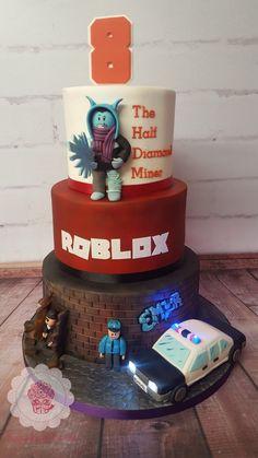 ROBLOX Birthday Cake featuring flashing police car #ROBLOX #robloxcake #rockyroadcake #augustusgloopwales #birthdaycake #jailbreak Roblox Birthday Cake, Roblox Cake, Birthday Cakes, 9th Birthday Parties, 8th Birthday, Torta Angry Birds, Rocky Road Cake, Police Cakes, Cakes For Boys