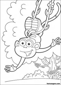 Happy Boots The Monkey Coloring Page This Beautiful From DORA THE EXPLORER Pages Is Perfect For Kids Who