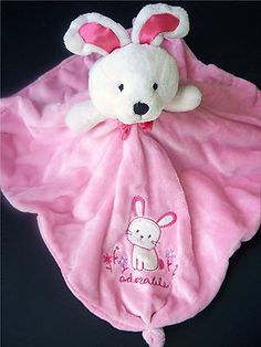 Carters Baby Girls Pink ADORABLE Bunny Security BLANKET Rattle Lovey with KNOTS