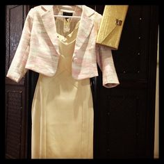 Lovely cream structured dress with # pretty pink Tweed Jacket and gold Clutch bag.Perfect for a wedding or special occasion.