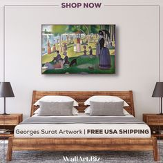 FRAMED & FREE USA SHIPPING Beautiful bedroom wall art of the famous painting Sunday on la Grande Jatte' by Georges Seurat. As you can see it is transorfming as art above the bed #bedroomart ##bedroomwallart #georgesseuratart #Sundayonlagrandejatte Artwork For Living Room, Bedroom Artwork, Bedroom Wall, Home Office Decor, Home Decor Bedroom, Seurat Paintings, Bedroom Canvas, Georges Seurat, Dream Decor