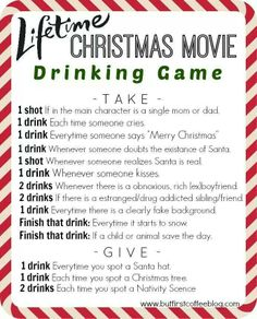 Lifetime Christmas movie drinking game