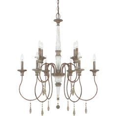 Showcasing a candelabra-inspired design, this eye-catching chandelier showcases a French antique finish and stone accents.Features: