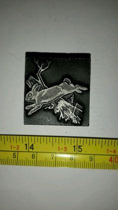 Vintage Letterpress Printing Block Bunny Rabbit Jumping Over Tree Branch Rare