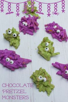 Chocolate Pretzel Monsters - Cute snacks for Halloween parties or to pack in a lunch!