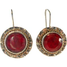 Vintage Gilt Sterling Opaque Ruby Earrings 8 carats from Suzy's Timeless Treasures on Ruby Lane