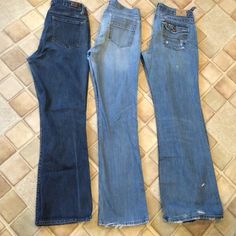 "3 PAIR OF JEANS American Eagle size 12 boy fit wide leg, distressed. The sweetheart size 12 straight leg, Lovingly & Gently Well Worn. . Lee Riders Boot Cut Size 12 good condition.  All three pair fit like a size 10 instead of a size 12. Inseams 29, 30 & 31"". Jeans"