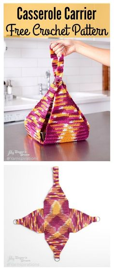 Crochet Bag Casserole Carrier FREE Crochet Pattern - Crochet casserole carriers are great tools to easily transport hot or cold dishes. It's easy to make with this Casserole Carrier FREE Crochet Pattern. Beau Crochet, Crochet Diy, Crochet Home, Crochet Bags, Crochet Ideas, Crochet Baskets, Crochet Purses, Sewing Patterns Free, Knitting Patterns