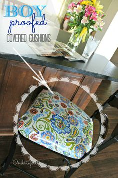 DIY {BOY proof} Laminated seat cushions at {Onekriegerchick.com}