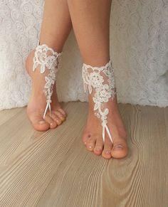 Free Ship , ivory , rose , sandals , beach , wedding , barefoot , sandals…