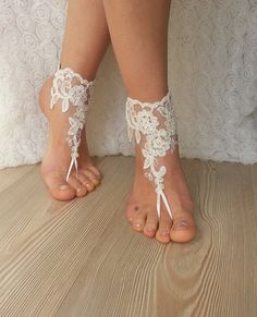 Free Ship ivory rose sandals beach wedding by BarefootShop