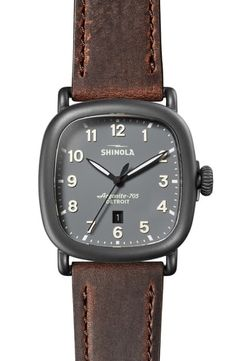 Buy Shinola The Guardian Leather Strap Watch, x online - Thetophitsseller Shinola Detroit, Station Necklace, Leather Accessories, The Guardian, Bracelet Watch, Watches For Men, Women Jewelry, Stuff To Buy, Beachwear