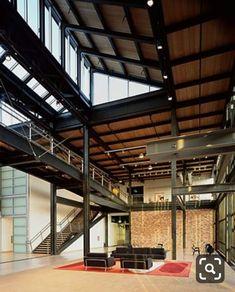 Pixar Studios by Bohlin Cywinski Jackson Warehouse Living, Warehouse Design, Warehouse Office, Industrial Office Design, Industrial House, Pixar Offices, Architecture Details, Interior Architecture, Casa Loft