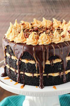 Turtle Chocolate Layer Cake Turtle Chocolate Layer Cake is a moist chocolate cake filled with caramel icing, pecans & chocolate ganache. It's delicious & the perfect celebration cake! Super Moist Chocolate Cake, Chocolate Ganache, Decadent Chocolate, Delicious Chocolate, Chocolate Desserts, Chocolat Valrhona, Cake Recipes, Dessert Recipes, Fondue Recipes