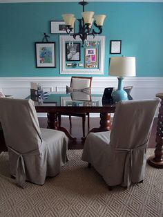 Ideal dining room look. Teal/aqua and white. (even though I know it's an office)