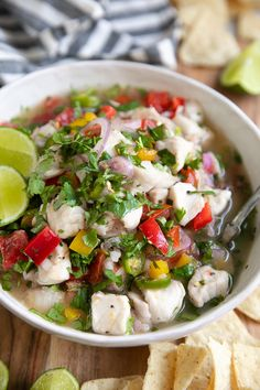 Cooking Delicious - Fish Ceviche Recipe is made with cubes of fresh snapper and halibut cooked in lime juice and mixed with shallots chili peppers bell pepper and fresh cilantro. Easy and delicious! Fish Recipes, Seafood Recipes, Mexican Food Recipes, Cooking Recipes, Healthy Recipes, Ethnic Recipes, Mexican Desserts, Cooking Tips, Freezer Recipes