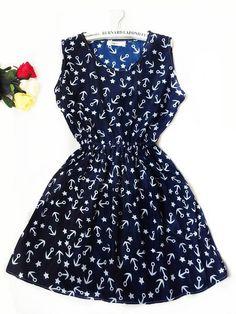 Bohemian sleeveless printed chiffon dress