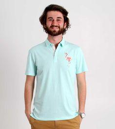Retrofit Polo Shirt for Men with Flamingo Print