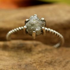 Natural grey color rough diamond ring in prongs setting with oxidized sterling silver twist design band