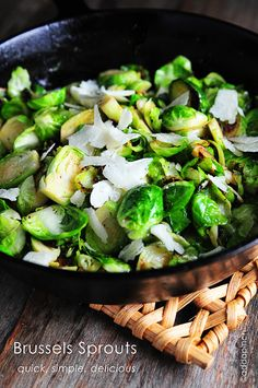 Simple Skillet Brussels Sprou via addapinch - i am looking forward to making these, i love brussels sprouts and have made them in many many different ways love them in the fall, the comfort side for comfort food season