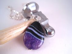 Drusy Agate Necklace   Purple Agate Pendant  by Sparkleandswirl, $25.00