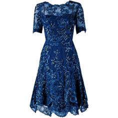 1950's Carven Haute-Couture Navy Lesage Beaded Chantilly-Lace Party... ❤ liked on Polyvore featuring dresses, navy blue lace cocktail dress, beaded dress, couture dresses, navy lace dress and couture cocktail dresses