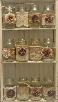 12 Mason Jar Wedding Centerpieces Rustic Wedding Burlap