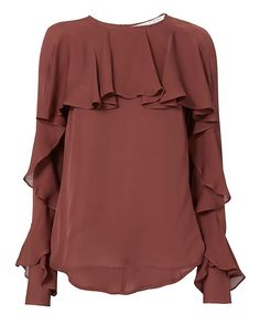 Veronica Beard Mia Ruffle Blouse: In a beautiful terracotta hue, this silk blouse features a ruffle overlay on the chest front, along with charming ruffles down the sleeve lengths. Round neckline. Long sleeves. Keyhole opening in back with button closure. In terracotta. Fabric: 100% silk ...