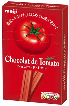 Here's another package that confounds me. Beautiful graphics but chocolate flavored tomato or tomato flavored chocolate : )